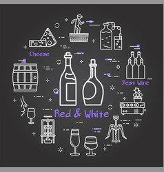 black banner winemaking - concept red and white vector image