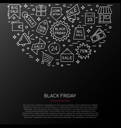 black friday icons collection banner with sale vector image
