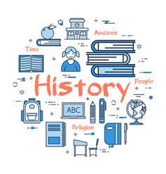 Blue round history subject concept vector