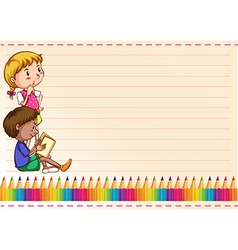 Border design with children and colorpencils vector