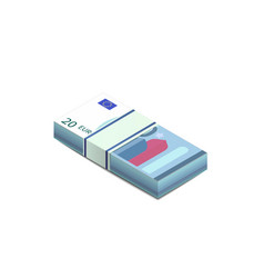 bright twenty euro banknotes in stack in isometric vector image