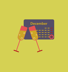 Calendar and champagne vector