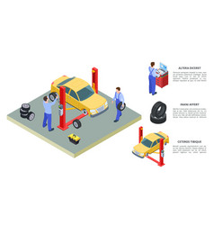 car service concept venicle and tire vector image