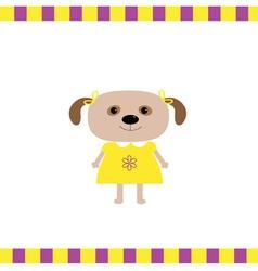 Cartoon dog girl card vector