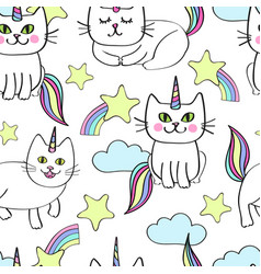 Caticorns cat unicorn with bodies all over pattern vector