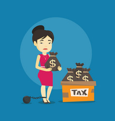 Chained taxpayer with bags full of taxes vector