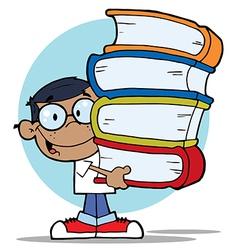 Child holding books cartoon vector