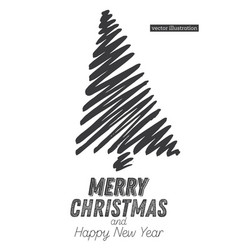 christmas tree sketch isolated on white background vector image