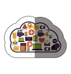 color sticker with cloud service and apps set vector image