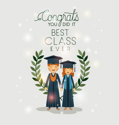 Couple of graduates class of the year characters vector