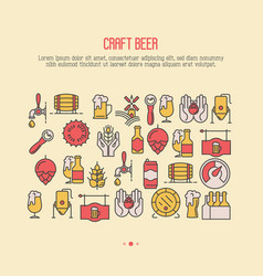 Craft beer concept with thin line icons vector
