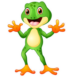 Cute frog cartoon waving both hands vector