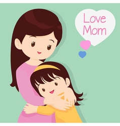 Cute Girl Hugging His Mother vector image