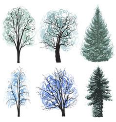 Deciduous coniferous trees set christmas trees vector