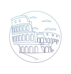 Degraded line medieval coliseum rome with nice vector