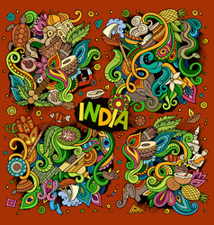 Doodle cartoon set of indian designs vector
