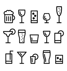 Drink alcohol beverage line icons set vector image