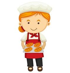 Female baker holding fresh bread vector