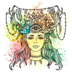 Female shaman portriat vector