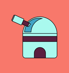 Flat icon design collection telescope station vector