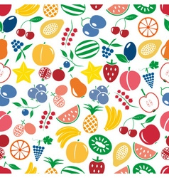 Fruit theme color simple icons seamless multicolor vector