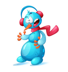 funny cute cartoon snowman vector image