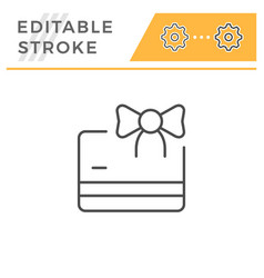 gift card editable stroke line icon vector image