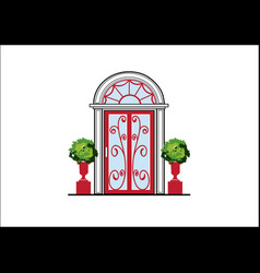 glass door with fine ornaments vector image
