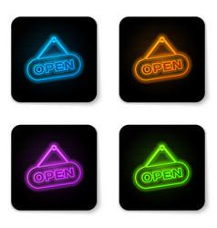 glowing neon hanging sign with text open door vector image