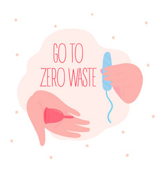Go to zero waste menstrual cup and cotton tampon vector