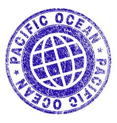 Grunge textured pacific ocean stamp seal vector