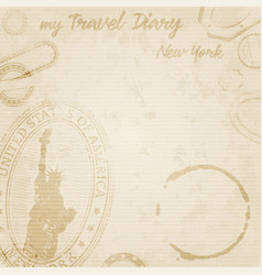grunge travel diary to new york template vector image