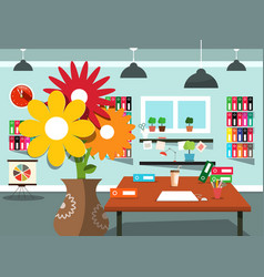 home office working room with flowers vector image