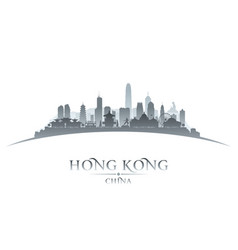 Hong kong china city skyline silhouette white vector