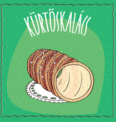 Hungarian kurtosh kalach topped with sugar vector