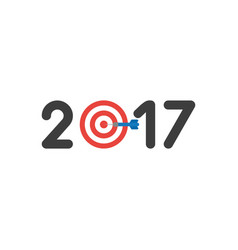 icon concept of year of 2017 with bulls eye and vector image