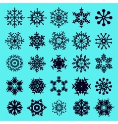 Icon set of snowflakes vector image