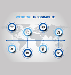 Infographic design with wedding icons vector