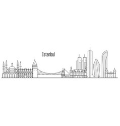 Istanbul city skyline - towers and landmarks vector