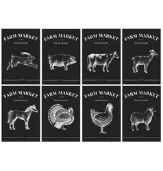 labels with farm animals vintage set templates vector image