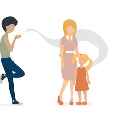 Man with cigarette and woman with child vector