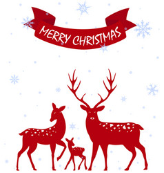Merry christmas with deer family vector
