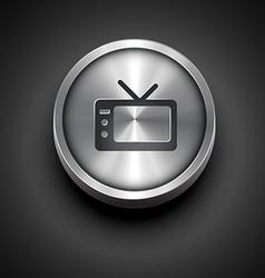 Metallic television icon vector