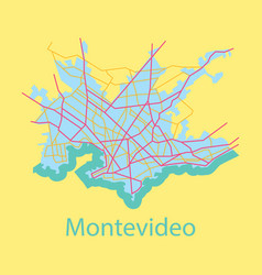 Montevideo flat map outline version ready vector