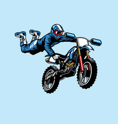 motocross rider jumping on motorcycle vector image