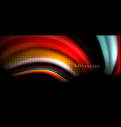 multicolored wave lines on black background design vector image