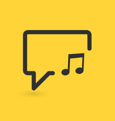 Musical note in speech bubble line icon music vector