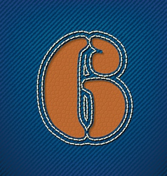 Number 6 made from leather on jeans background vector
