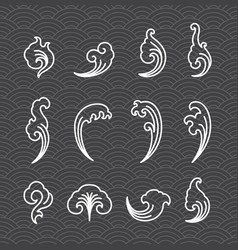 oriental water icons on wave seamless wallpaper vector image