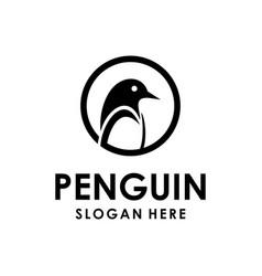 penguin logo design template vector image